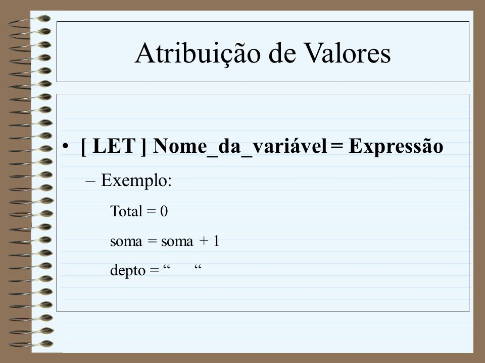 Atribuição de Valores [ LET ] Nome_da_variável = Expressão Exemplo: